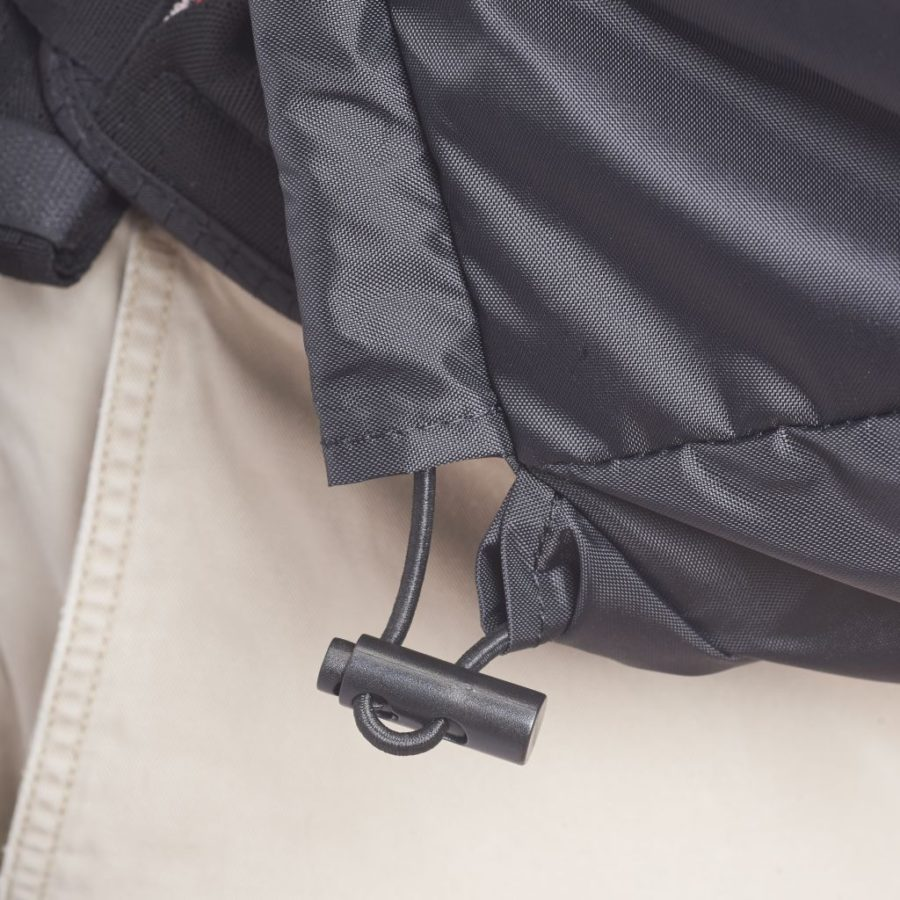 Details of Rain Bib drawstring to ensure gust-proof wrap around design